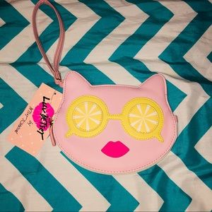 Betsy Johnson little kitty coin purse/clutch